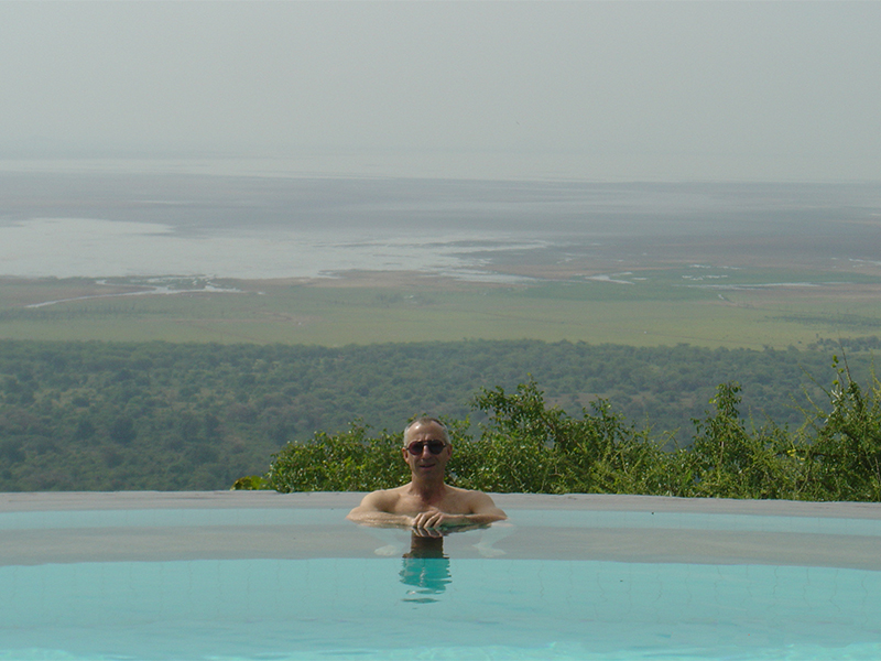 Well-deserved rest with Lake Manyara in the background