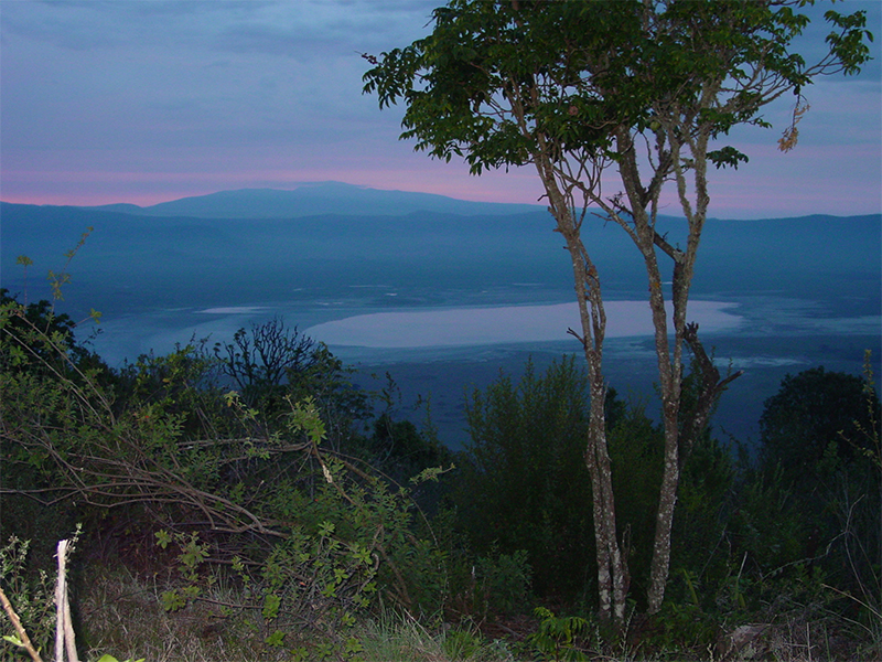 Sunset view of the Ngovongoro Crater, Tanzania Africa