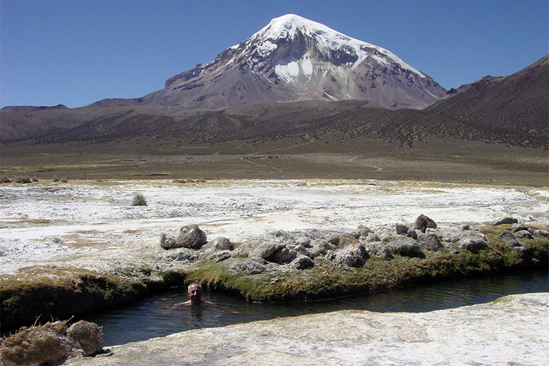 Al Relaxing in Hot Springs (Sajama in Background)